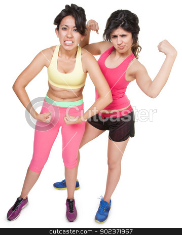 Workout Girls Flexing stock photo, Cute Latina sisters flexing muscles over white background by Scott Griessel
