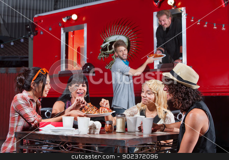 Ordering and Eating Pizza Outside stock photo, Smiling people sharing pizza and ordering food from canteen by Scott Griessel