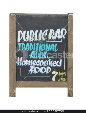 English pub sign stock photo, Traditional English pub sign on blackboard, white background. by Martin Crowdy