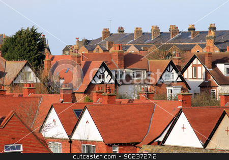 English town houses stock photo, Rooftops of houses and homes in English Town, Scarborough, England. by Martin Crowdy