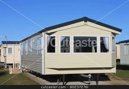 Exterior of modern static caravan stock photo, Exterior of modern static caravan in trailer park, England. by Martin Crowdy