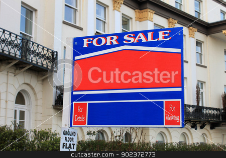 For sale sign outside old house stock photo, Blank for sale sign outside luxurious old house. by Martin Crowdy