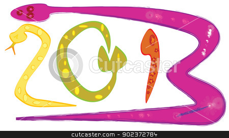 Snake 2013 stock vector clipart, Vector illustration of cartoon snake 2013 by Suphatthra China