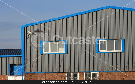Modern industrial building stock photo, Exterior of modern industrial or factory building. by Martin Crowdy