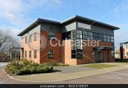 Modern office building stock photo, Modern office building available for rent in business park. by Martin Crowdy