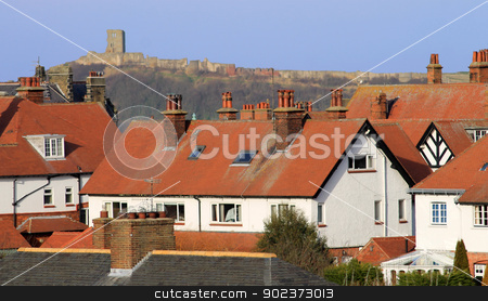 Red tiled houses and Scarborough Castle stock photo, Red tiled houses and Scarborough Castle, North Yorkshire, England. by Martin Crowdy