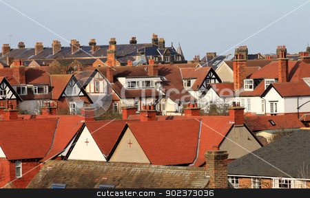 Red tiled houses in city stock photo, Red tiled houses in city, Scarborough, North Yorkshire, England. by Martin Crowdy