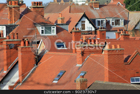 Red tiled roofs of modern houses stock photo, Red tiled roofs of modern houses in Scarborough, England. by Martin Crowdy