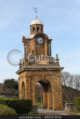 Victorian clock tower stock photo, Victorian clock tower on the Esplanade, Scarborough England. by Martin Crowdy