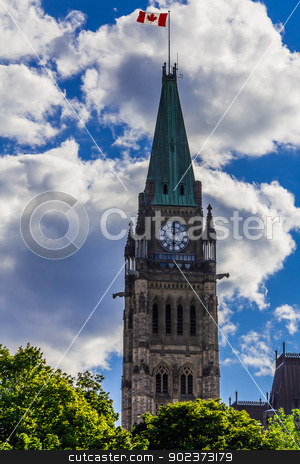 Parliament building in Ottawa stock photo,  Parliament building in Ottawa on the Parliament Hill, Ontario, Canada by Peter Kolomatski