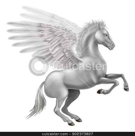Pegasus horse stock vector clipart, Illustration of the legendary winged horse from Greek mythology, Pegasus by Christos Georghiou