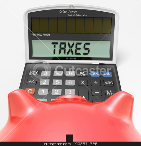 Taxes On Calculator Shows HMRC Return Due stock photo, Taxes On Calculator Showing HMRC Return Due by stuartmiles