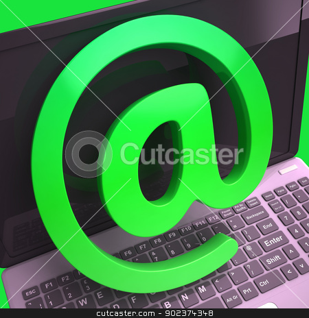 Keyboard At Sign Shows E-mail Symbol Message stock photo, Keyboard At Sign Showing E-mail Symbol For Message by stuartmiles