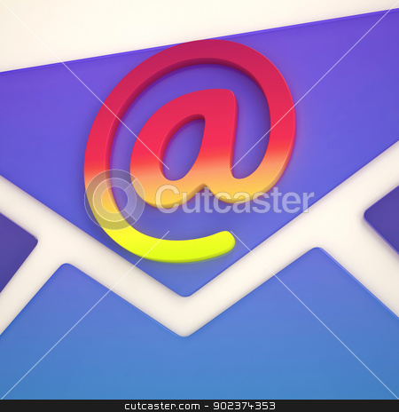 At Sign Envelope Shows Correspondence on Web stock photo, At Sign Envelope Showing Correspondence on Web by stuartmiles