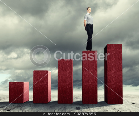 Business Success stock photo, Business person on a graph, representing success and growth by Sergey Nivens
