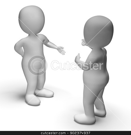 Discussion Between Two 3d Characters Shows Communication  stock photo, Discussion Between Two 3d Characters Showing Communication  by stuartmiles