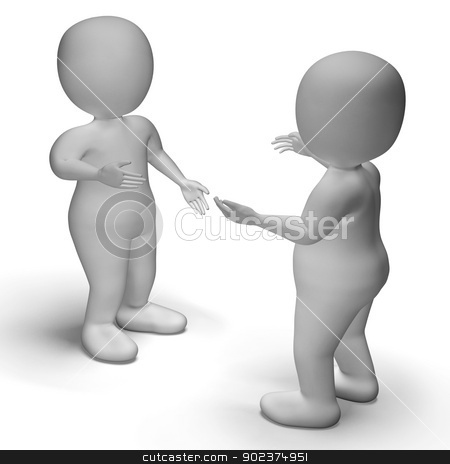 Conversation Between Two 3d Characters Shows Communication  stock photo, Conversation Between Two 3d Characters Showing Communication  by stuartmiles