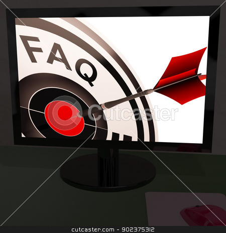 FAQ Aim On Monitor Showing Customer Service stock photo, FAQ Aim On Monitor Showing Customer Service And Assistance by stuartmiles