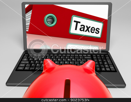 Taxes File On Laptop Shows Taxation stock photo, Taxes File On Laptop Shows Taxation And Payments by stuartmiles