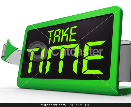 Take Time Clock Meaning Rest And Relax stock photo, Take Time Clock Means Rest And Relax by stuartmiles