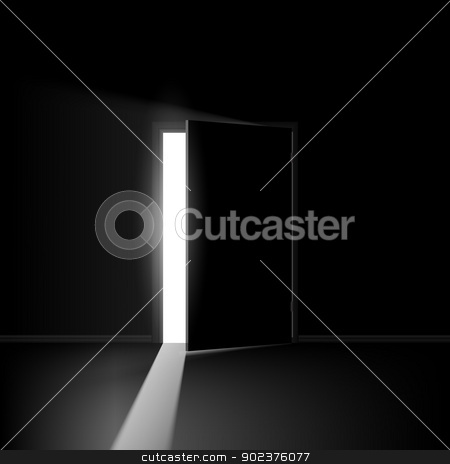 Open door stock photo, Open door. Illustration on black background for creative design by dvarg