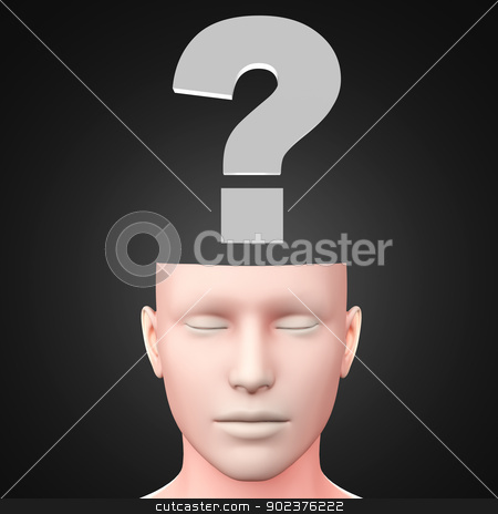 Question stock photo, A generic questioning person. Question mark in the head. 3D rendered Illustration. by Michael Osterrieder