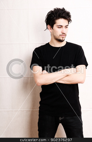Portrait of a young male stock photo, Portrait of a young adult man. by Michael Osterrieder