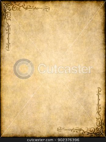 old parchment paper texture with ornate design stock photo, great background of old parchment paper texture with ornate design by Phil Morley