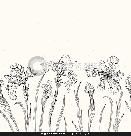 Abstract floral background. Iris. stock photo, Hand drawn Iris. White background. Seamless pattern. by Katyau