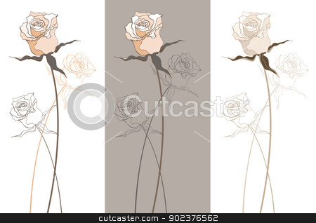 Vintage beautiful rose stock photo, Vintage Beautiful rose set. Vector illustration isolated by Katyau