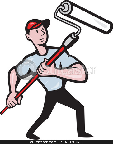 House Painter Paint Roller Painting Cartoon stock vector clipart, illustration of a house painter with paint roller painting isolated on white done in cartoon style by patrimonio