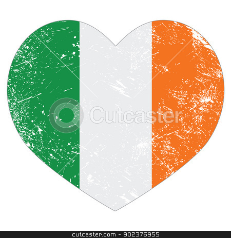 Ireland heart retro flag - St Patricks Day stock vector clipart, Irish heart shaped flag grunge style isolated on white by Agnieszka Bernacka