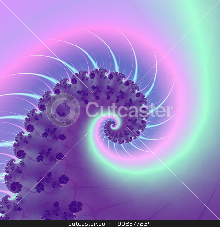 Fractal Spiral Wave stock photo, Digital abstract fractal image with a spiral wave design in purple, pink and blue. by Colin Forrest