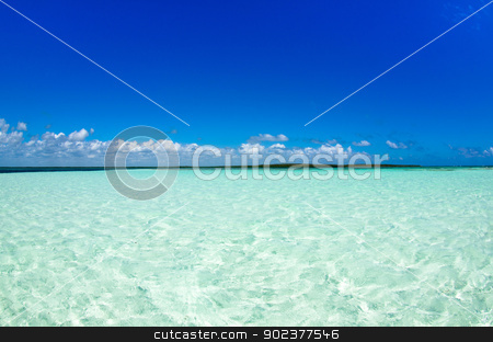 sea  stock photo, beautiful blue caribbean sea water by Vitaliy Pakhnyushchyy
