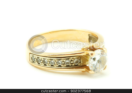 ring stock photo, Gold wedding rings isolated on white background by Vitaliy Pakhnyushchyy