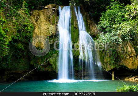 waterfall  stock photo, waterfall in deep green forest by Vitaliy Pakhnyushchyy