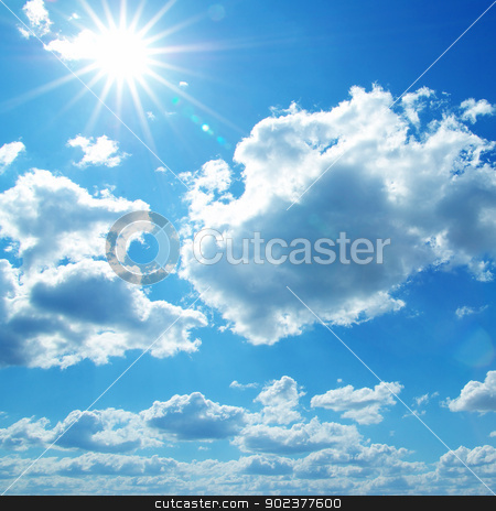 sunny sky  stock photo, blue sky background with tiny clouds by Vitaliy Pakhnyushchyy