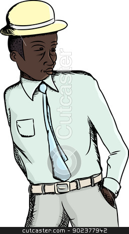 Handsome Black Businessman stock vector clipart, Young fashionable Black businessman over isolated background by Eric Basir