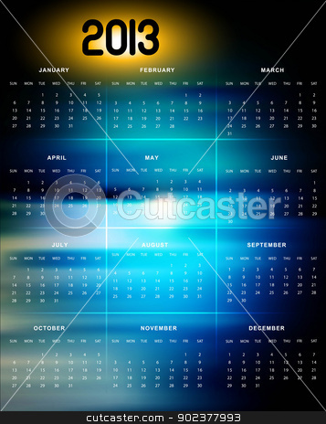 2013 calendar bright colorful blue background vector  stock vector clipart, 2013 calendar bright colorful blue background vector  by bharat pandey