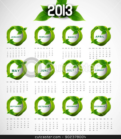2013 calendar eco natural green lives circle stylish vector stock vector clipart, 2013 calendar eco natural green lives circle stylish vector design by bharat pandey