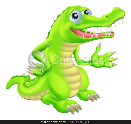 Cartoon Crocodile Illustration stock vector clipart, Illustration of a cartoon crocodile or alligator character or mascot by Christos Georghiou