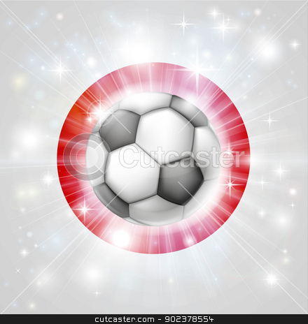 Japan soccer flag stock vector clipart, Flag of Japan soccer background with pyrotechnic or light burst and soccer football ball in the centre  by Christos Georghiou