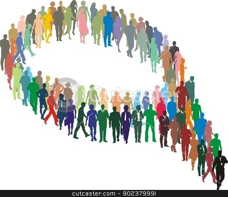 A large group of people in the form stock vector clipart, Illustration bubble of silhouettes of group man and woman  by Vladim?