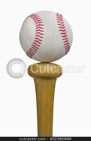 Baseball Balancing on Bat stock photo, Baseball balancing on bat, isolated on white, includes clipping path by Bryan Mullennix