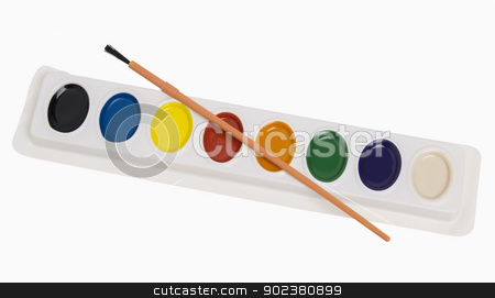 Paint Set and Brush stock photo, Colorful paint set and brush isolated on white, includes clipping path by Bryan Mullennix