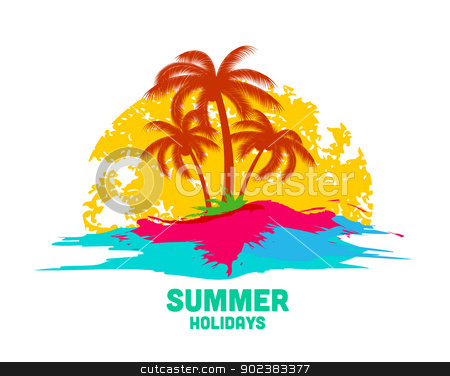 summer holiday stock vector clipart, summer holiday logo with sea and palms by Miroslava Hlavacova
