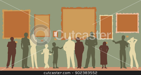 Gallery color stock vector clipart, Editable vector silhouettes of diverse people at an art gallery or museum by Robert Adrian Hillman