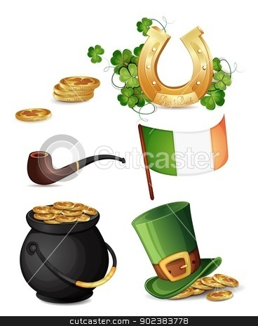 Saint Patrick's Day symbols  stock vector clipart, Saint Patrick's Day symbols isolated on white  by Loradora