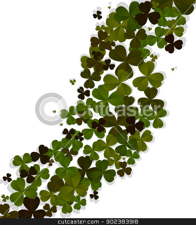 Decorative Patrick card stock vector clipart, Decorative Patrick's Day celebration card with beautiful clover leaf over white background by Richard Laschon