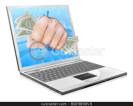 Cash Fist Laptop Concept stock vector clipart, An illustration of a laptop computer with a fist full of dollars smashing out of the screen by Christos Georghiou